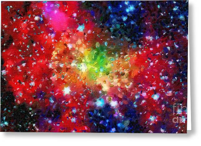Outer Space Paintings Greeting Cards - Bright clouds in outer space Greeting Card by Magomed Magomedagaev