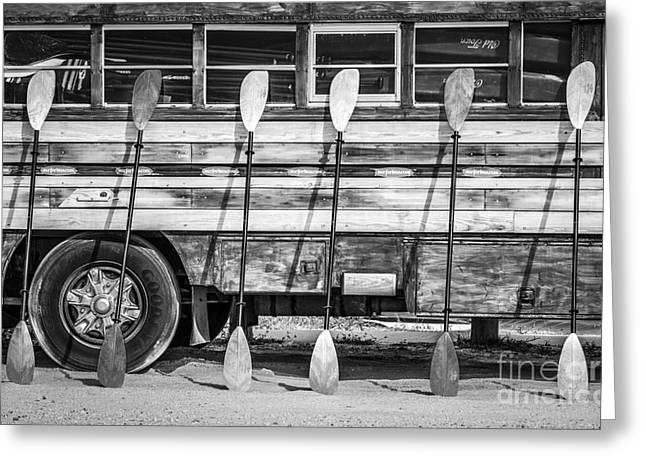 Longboard Greeting Cards - Bright Colored Paddles and Vintage Woodie Surf Bus - Florida - Black and White Greeting Card by Ian Monk