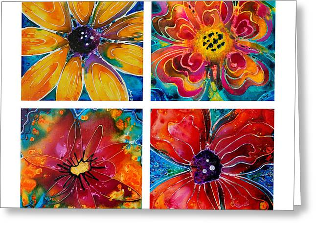 Lyrical Greeting Cards - Bright Colorful Flowers - Flower Collection Best Of Sharon Cummings Greeting Card by Sharon Cummings