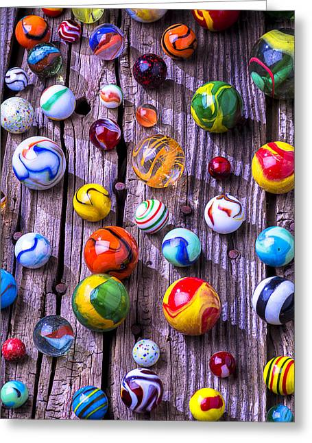Spheres Greeting Cards - Bright colorful marbles Greeting Card by Garry Gay