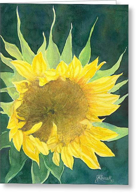 K Joann Russell Greeting Cards - Bright Colorful Sunflower Watercolor Greeting Card by K Joann Russell