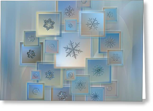 Snowflake Greeting Cards - Snowflake collage - Bright crystals 2012-2014 Greeting Card by Alexey Kljatov