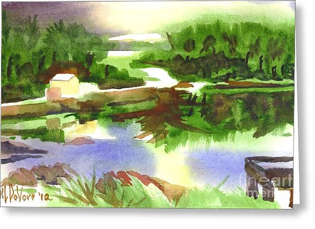 Natural Dam Greeting Cards - Bright Evening Dusk at Shepherd Mtn Lake Greeting Card by Kip DeVore
