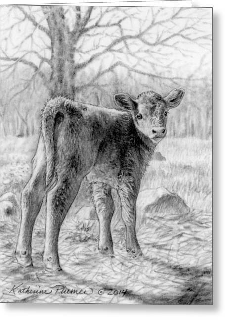 Cow Drawings Greeting Cards - Bright Eyed and Bushy Tailed Greeting Card by Katherine Plumer