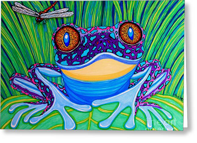 Dragon Flies Greeting Cards - Bright Eyed Frog Greeting Card by Nick Gustafson