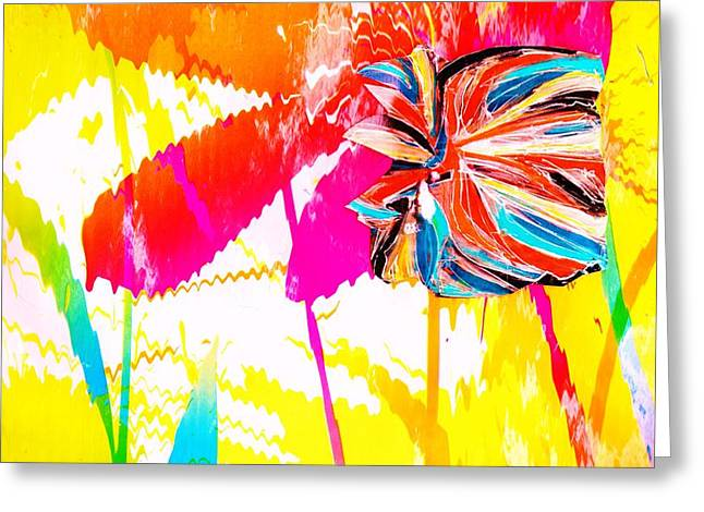 Bright Floral  Collage Greeting Card by Anne-Elizabeth Whiteway