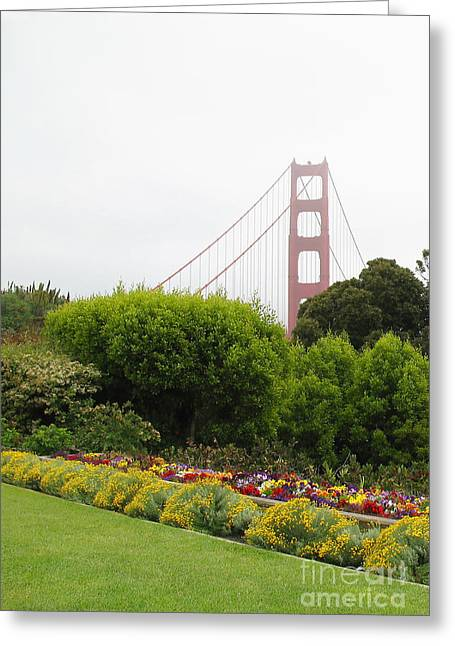 Best Sellers -  - California Tourist Spots Greeting Cards - Bright Flowers at the Golden Gate Greeting Card by Connie Fox