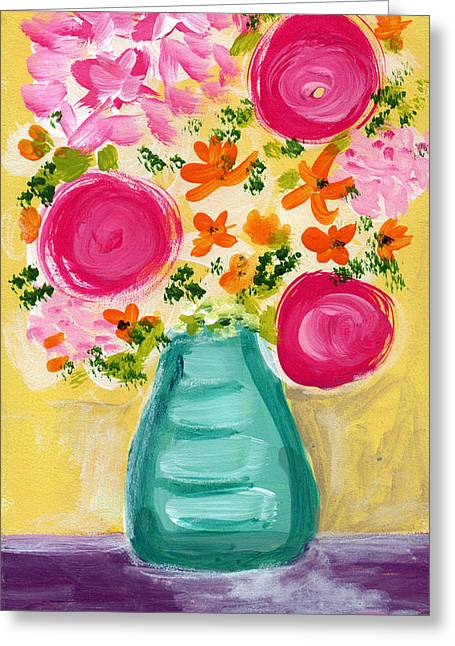 Floral Still Life Mixed Media Greeting Cards - Bright Flowers Greeting Card by Linda Woods