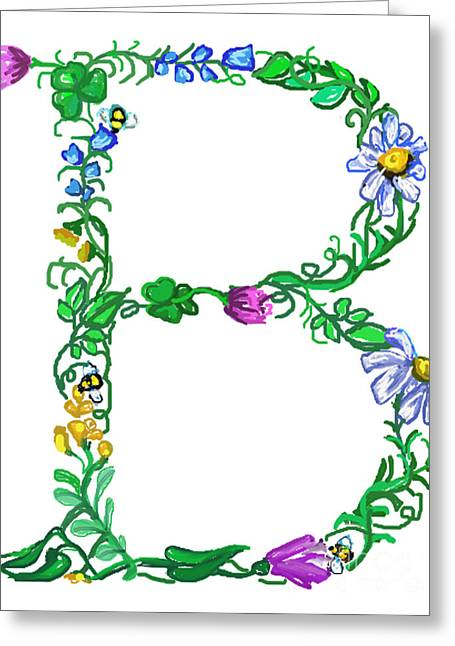 Housewarming Greeting Cards - Bright Fun Colorful hand drawn Monogram B Greeting Card by Lea