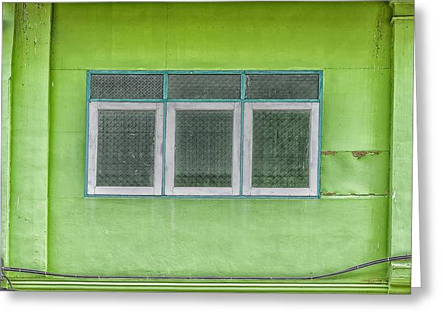 Symetrical Greeting Cards - Bright Green House Thailand Greeting Card by Nomad Art And  Design