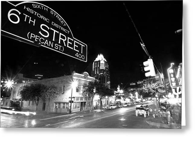 Street Photographs Greeting Cards - Bright Lights at Night Greeting Card by John Gusky