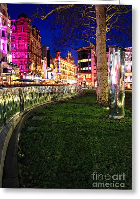 Night Scenes Photographs Greeting Cards - Bright lights of London Greeting Card by Jasna Buncic