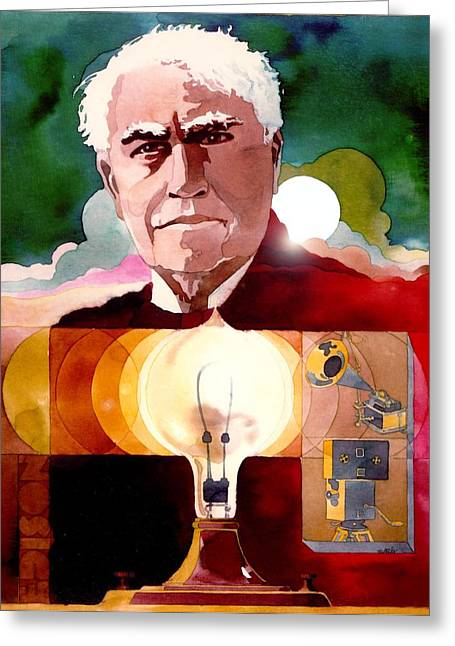 Edison Paintings Greeting Cards - Bright Man Greeting Card by Jerry Sweeney