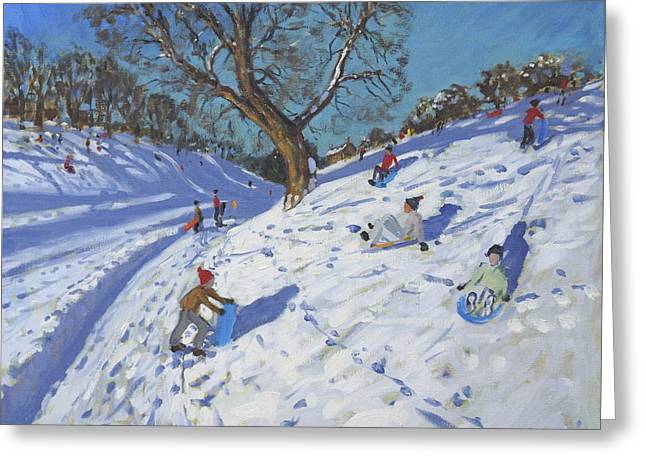Winter Fun Paintings Greeting Cards - Bright morning   Chatsworth Greeting Card by Andrew Macara
