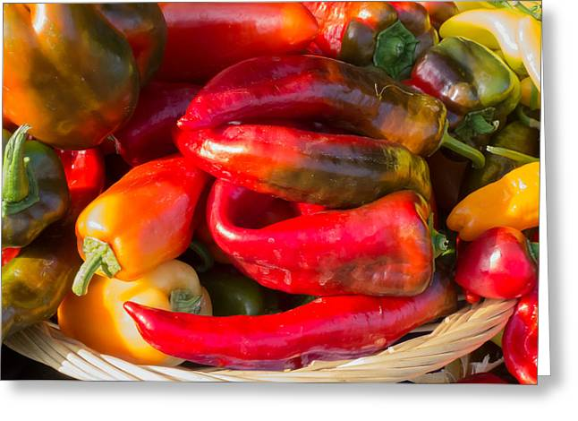 Farm Stand Greeting Cards - Bright Peppers Greeting Card by Susan Colby