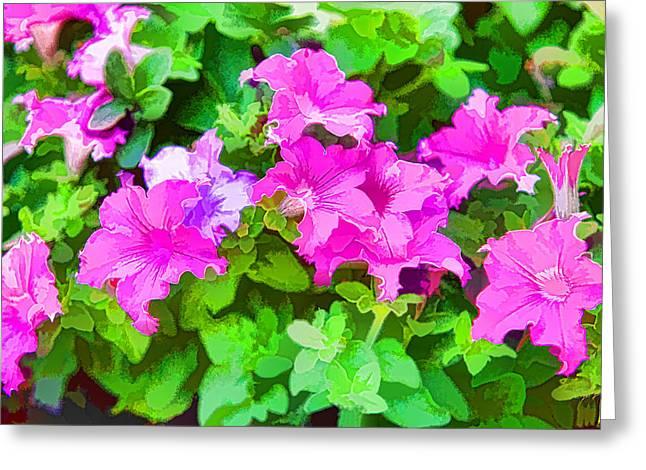 Ink Drawing Digital Art Greeting Cards - Bright Pink Floral Painting Greeting Card by Linda Phelps