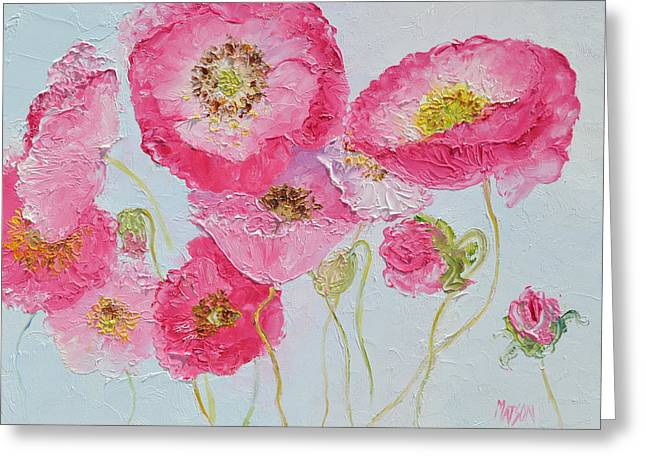 Bedroom Art Paintings Greeting Cards - Bright Pink Poppies Greeting Card by Jan Matson