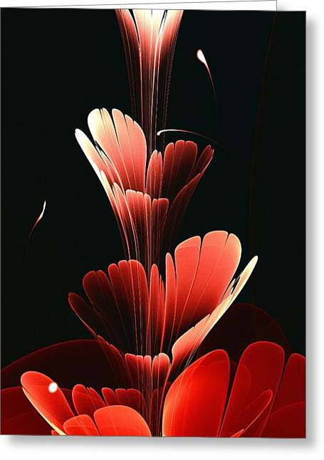Glow In The Dark Greeting Cards - Bright Red Greeting Card by Anastasiya Malakhova