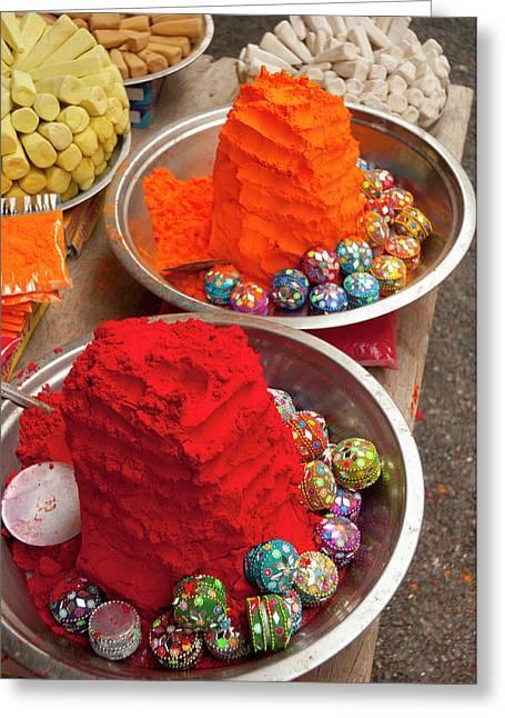 Bright Red And Orange Tikka Powder Greeting Card by Inger Hogstrom