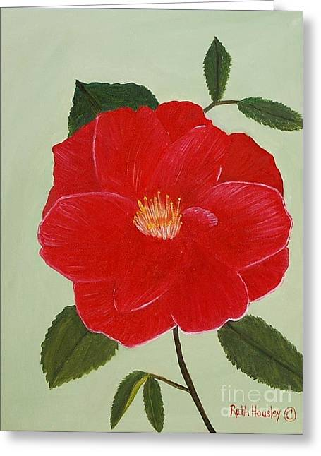 Stretched Cotton Canvas Greeting Cards - Bright Red Camelia Greeting Card by Ruth  Housley