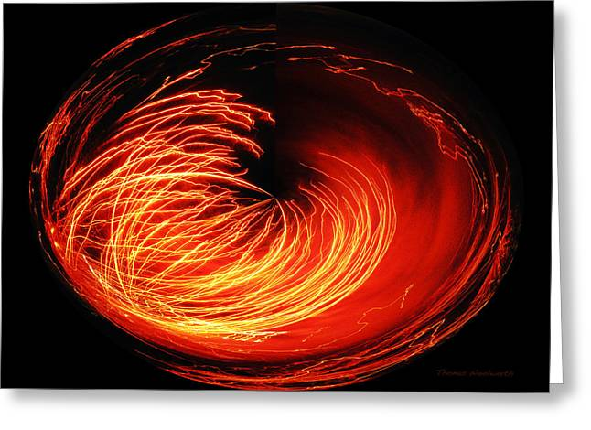 Pyrotechnics Digital Art Greeting Cards - Bright Red Fireworks Polar View Greeting Card by Thomas Woolworth