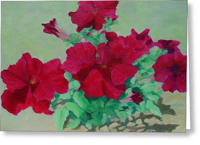 Red Flowers Art Brilliant Petunias Bright Floral  Greeting Card by K Joann Russell