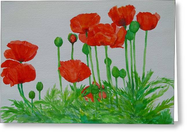 K Joann Russell Greeting Cards - Bright Red Poppies Colorful Flowers Original Art Painting Floral Garden Decor Artist K Joann Russell Greeting Card by K Joann Russell