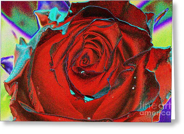 Abstract Rose Abstract Greeting Cards - Bright rose Greeting Card by Carol Lynch