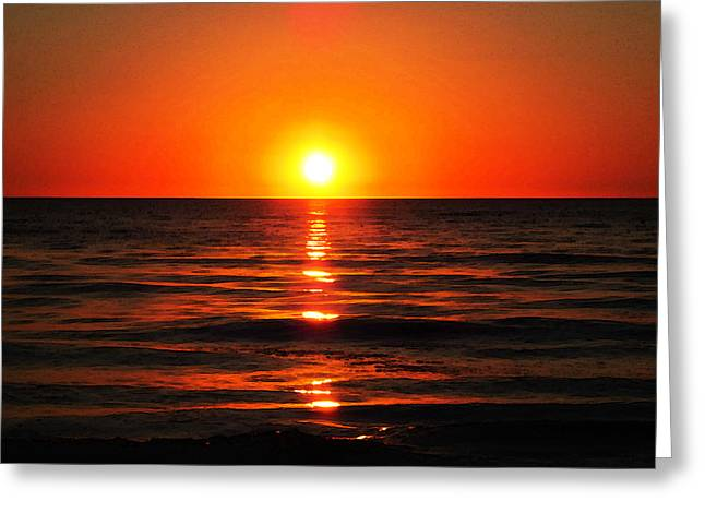 Sunrise On Beach Greeting Cards - Bright Skies - Sunset Art Greeting Card by Sharon Cummings