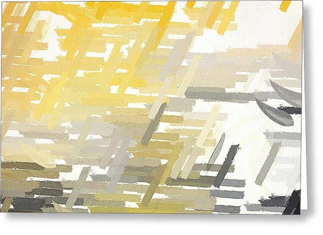 Yellow And Gray Abstract Greeting Cards - Bright Slashes Greeting Card by Lourry Legarde
