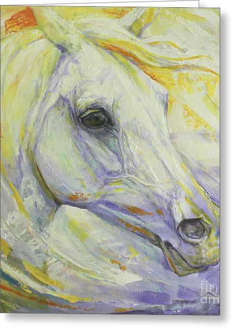 Horse Artist Greeting Cards - Bright Spring Greeting Card by Silvana Gabudean