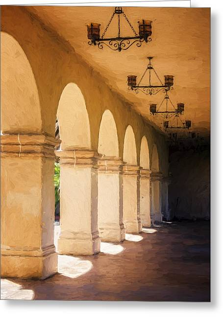 Colonial Architecture Greeting Cards - Bright Sun Cool Shade Balboa Park Greeting Card by Joan Carroll