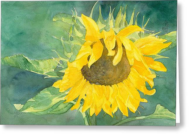 K Joann Russell Greeting Cards - Bright Sunflower Greeting Card by K Joann Russell