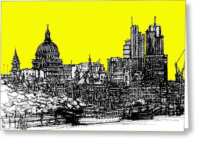 Pen And Ink Framed Prints Greeting Cards - Dark Ink with bright yellow London skies Greeting Card by Lee-Ann Adendorff