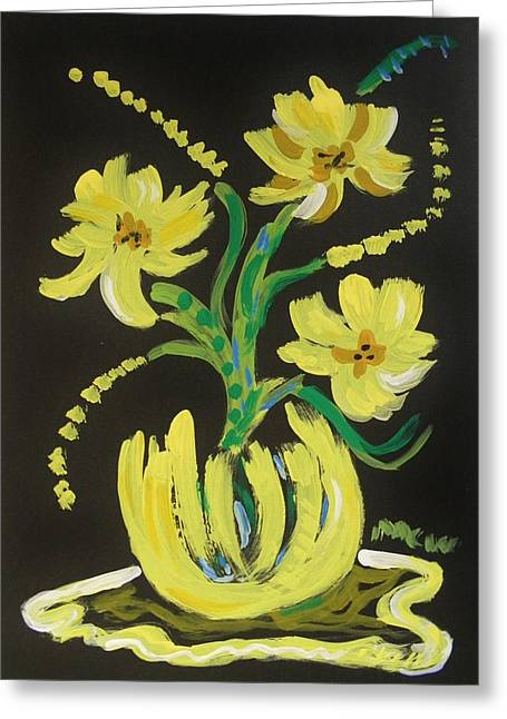 Impacting Drawings Greeting Cards - Bright Yellows Greeting Card by Mary Carol Williams