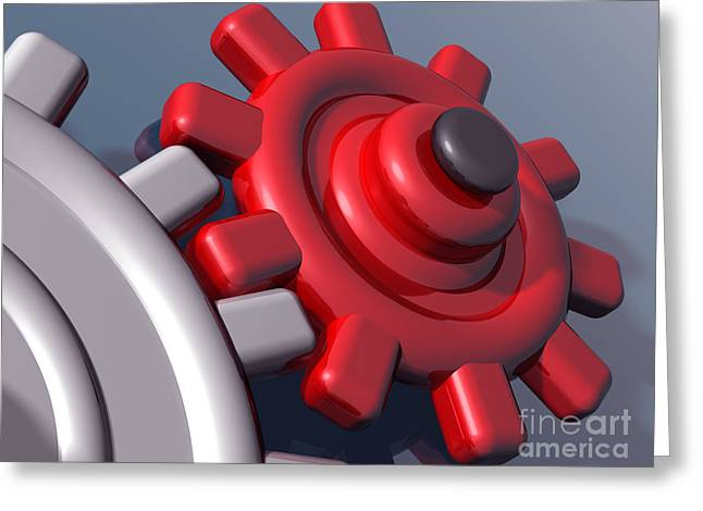 Brightly colored interlocking gears Greeting Card by Paul Fleet