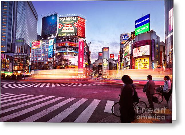 Moving Colors Greeting Cards - Brightly lit intersection of Shibuya Tokyo Greeting Card by Oleksiy Maksymenko
