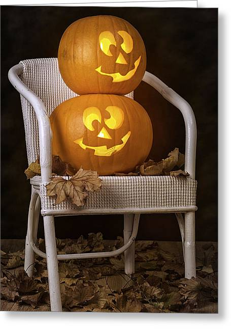 Orange Pumpkin Greeting Cards - Brightly Lit Jack O Lanterns Greeting Card by Amanda And Christopher Elwell