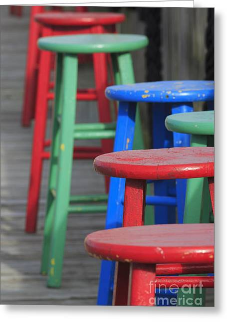 South Padre Island Texas Greeting Cards - Brightly Painted Wooden Stools Greeting Card by Louise Heusinkveld