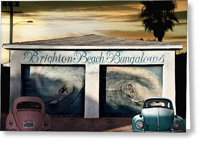 Brighton Beach Bungalows Greeting Card by Larry Butterworth