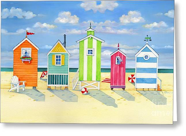 Cabana Greeting Cards - Brighton Beach Huts Greeting Card by Paul Brent