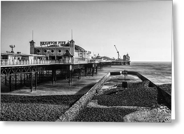 Brighton Beach Greeting Cards - Brighton Beach mono Greeting Card by Ian Hufton