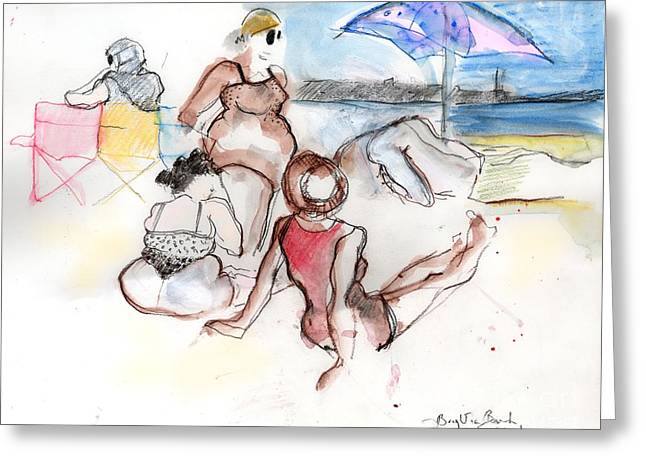 Sand Castles Greeting Cards - Brighton Beach on a Windy Day Greeting Card by Carolyn Weltman