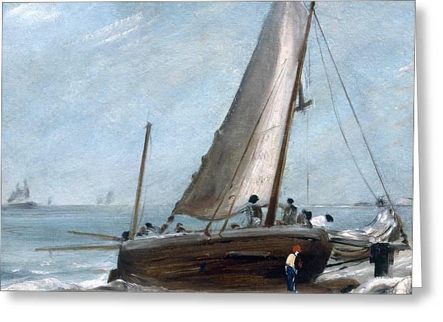 Blue Sailboat Greeting Cards - Brighton Beach With Fishing Boats Greeting Card by John Constable