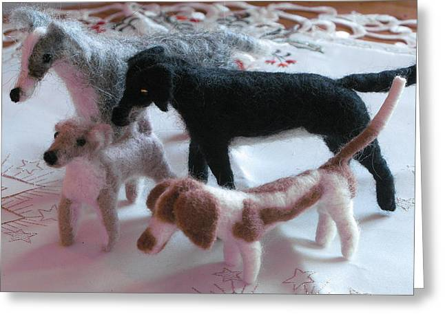Sheep Sculptures Greeting Cards - Brighton Christmas dogs Greeting Card by Maria Joy