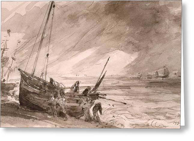 Figure Study Greeting Cards - Brighton Coastal Scene, C.1828 Greeting Card by John Constable
