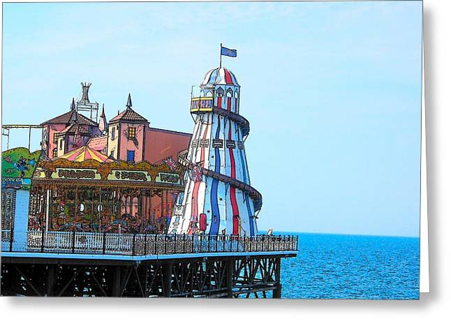 Brighton Beach Greeting Cards - Brighton Pier Fun Park Greeting Card by Jan Matson