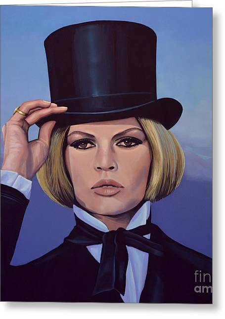 Rights Paintings Greeting Cards - Brigitte Bardot Blue Greeting Card by Paul  Meijering