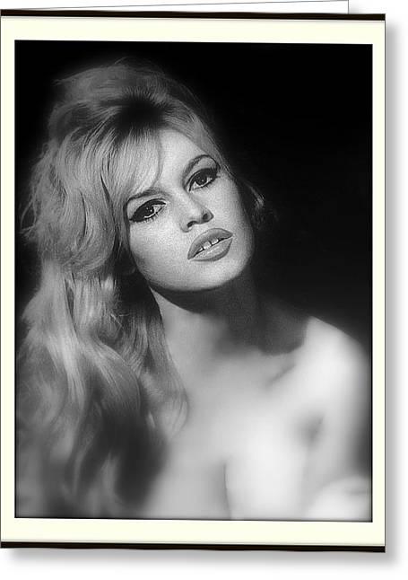 Nude Marilyn Monroe Greeting Cards - Brigitte Bardot Greeting Card by Daniel Gomez