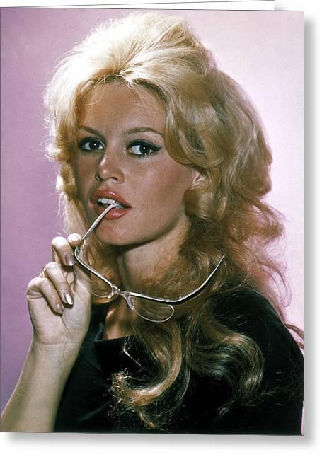 Brigitte Greeting Cards - Brigitte Bardot Glamour Portrait Greeting Card by Nomad Art And  Design